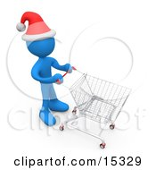 Blue Person Wearing A Santa Hat And Pushing A Shopping Cart Through A Store While Christmas Shopping
