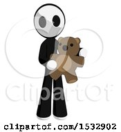Clipart Of A Maskman Holding A Teddy Bear Royalty Free Illustration