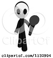 Clipart Of A Maskman Holding Out A Microphone Royalty Free Illustration