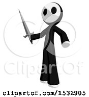 Clipart Of A Maskman Stabbing Holding A Sword Royalty Free Illustration