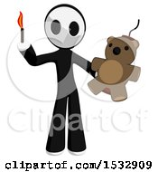 Clipart Of A Maskman Holding A Teddy Bear Strapped To Dynamite And A Lit Match Royalty Free Illustration