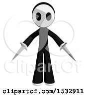 Clipart Of A Maskman Holding Swords Royalty Free Illustration
