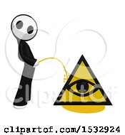 Clipart Of A Maskman Pissing On An Illuminati Symbol Royalty Free Illustration by Leo Blanchette