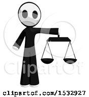 Clipart Of A Maskman Holding Justice Scales Royalty Free Illustration