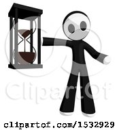 Clipart Of A Maskman Holding An Hourglass Royalty Free Illustration by Leo Blanchette