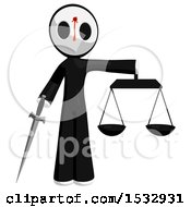 Clipart Of A Maskman Bleeding And Shot In The Forehead Holding A Sword Justice Scales Royalty Free Illustration
