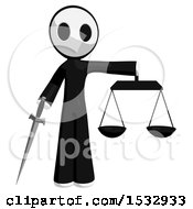 Clipart Of A Maskman Holding A Sword And Justice Scales Royalty Free Illustration