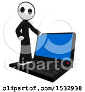 Clipart Of A Maskman On A Giant Laptop Royalty Free Illustration by Leo Blanchette