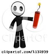 Clipart Of A Maskman Holding Dynamite Royalty Free Illustration by Leo Blanchette