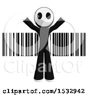 Clipart Of A Maskman Over A Barcode Royalty Free Illustration by Leo Blanchette