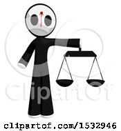 Clipart Of A Maskman Bleeding And Shot In The Forehead Holding Justice Scales Royalty Free Illustration