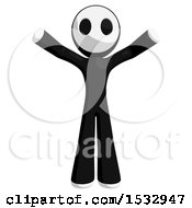 Clipart Of A Maskman Holding His Arms Up Royalty Free Illustration by Leo Blanchette