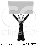 Clipart Of A Little Anarchist Holding Up A Blank Sign Royalty Free Illustration