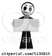 Clipart Of A Little Anarchist Holding A Blank Sign Royalty Free Illustration