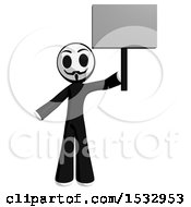 Clipart Of A Little Anarchist Protesting And Holding A Blank Sign Royalty Free Illustration