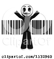 Clipart Of A Little Anarchist Over A Barcode Royalty Free Illustration