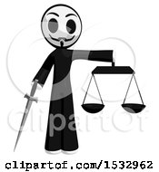 Clipart Of A Little Anarchist Holding A Sword And The Scales Of Justice Royalty Free Illustration