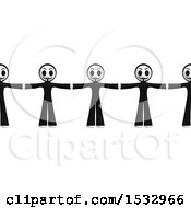 Clipart Of A Group Of Little Anarchists Standing Together Royalty Free Illustration