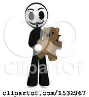 Clipart Of A Little Anarchist Holding A Teddy Bear Royalty Free Illustration