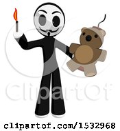 Clipart Of A Little Anarchist Holding A Teddy Bear Bomg And A Match Royalty Free Illustration