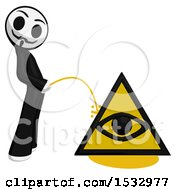 Clipart Of A Little Anarchist Pissing On An Illuminati Symbol Royalty Free Illustration by Leo Blanchette