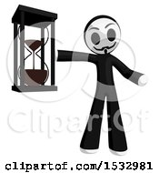 Clipart Of A Little Anarchist Holding An Hourglass Royalty Free Illustration by Leo Blanchette