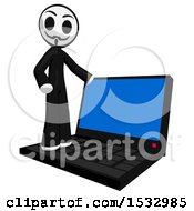 Clipart Of A Little Anarchist On A Laptop Computer Royalty Free Illustration