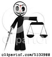 Clipart Of A Little Anarchist With A Bleeding Shot In The Forehead Holding A Sword And The Scales Of Justice Royalty Free Illustration