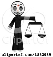 Clipart Of A Little Anarchist With A Bleeding Shot In The Forehead Holding The Scales Of Justice Royalty Free Illustration