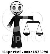 Clipart Of A Little Anarchist Holding The Scales Of Justice Royalty Free Illustration