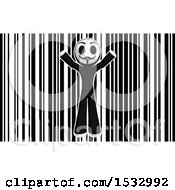 Clipart Of A Little Anarchist Over A Bar Code Royalty Free Illustration by Leo Blanchette