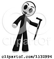 Clipart Of A Little Anarchist Holding A Cane Royalty Free Illustration
