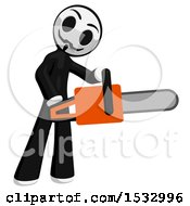 Clipart Of A Little Anarchist Holding A Chainsaw Royalty Free Illustration