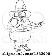 Black And White Sheriff Holding A Rifle