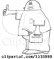 Clipart Of A Lineart Man Holding A Gas Can And Hitchhiking Royalty Free Vector Illustration