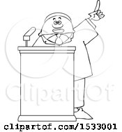 Lineart Black Male Politician Holding Up A Finger At A Podium