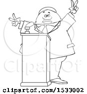 Lineart Black Male Politician Gesturing Peace Or Victor At A Podium