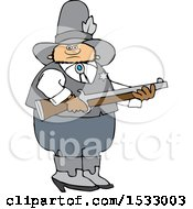 Clipart Of A White Male Sheriff Holding A Rifle Royalty Free Vector Illustration