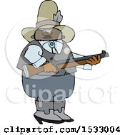 Clipart Of A Black Male Sheriff Holding A Rifle Royalty Free Vector Illustration