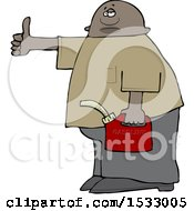Clipart Of A Black Man Holding A Gas Can And Hitchhiking Royalty Free Vector Illustration