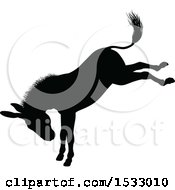 Black Silhouetted Donkey Bucking