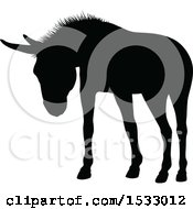 Black Silhouetted Donkey