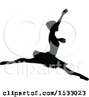 Clipart Of A Black Silhouetted Ballerina Dancing Royalty Free Vector Illustration by AtStockIllustration