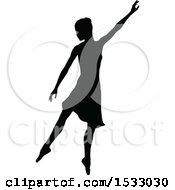 Clipart Of A Black Silhouetted Ballerina Dancing Royalty Free Vector Illustration