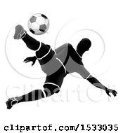 Clipart Of A Silhouetted Male Soccer Player Jumping And Kicking Royalty Free Vector Illustration