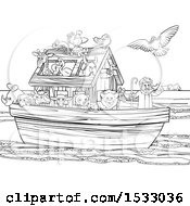 Clipart Of A Black And White Biblical Scene Of Noah On His Ark With The White Dove Returning With The Olive Branch Royalty Free Vector Illustration by AtStockIllustration