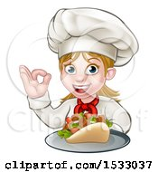 Clipart Of A Female Chef Holding A Kebab On A Tray And Gesturing Perfect Royalty Free Vector Illustration
