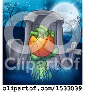 Clipart Of A Rising Zombie Hand Holding A Basketball In A Cemetery Royalty Free Vector Illustration by AtStockIllustration