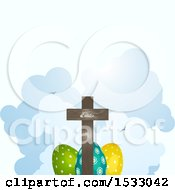Clipart Of A Wooden Cross Over Easter Eggs And Clouds Royalty Free Vector Illustration