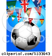 Clipart Of A 3d Soccer Ball Under World Flag Buntings On Blue Royalty Free Vector Illustration